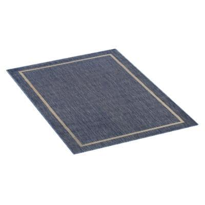 Blue and Cream 5 ft. x 7 ft. Indoor/Outdoor Border Area Rug