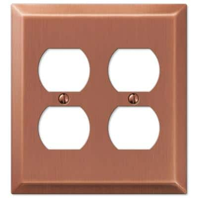 Metallic 2 Gang Duplex Steel Wall Plate - Antique Copper