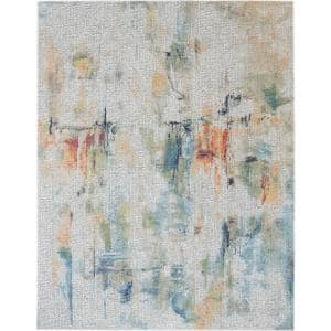 Global Vintage Ivory/Multicolor 9 ft. x 12 ft. Oriental Contemporary Area Rug