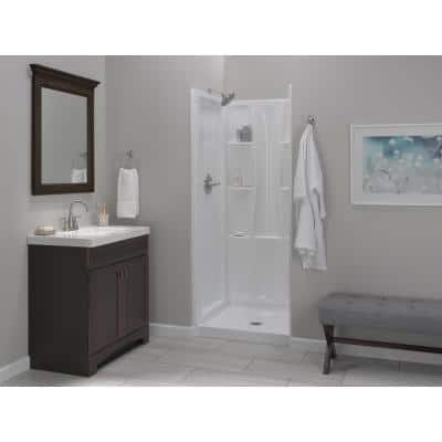 Classic 400 32 in. L x 32 in. W x 72 in. H 4-Piece Alcove Shower Kit with Shower Wall and Shower Pan in White