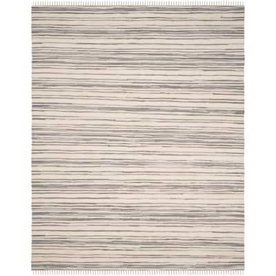 Rag Rug Ivory/Gray 9 ft. x 12 ft. Striped Area Rug