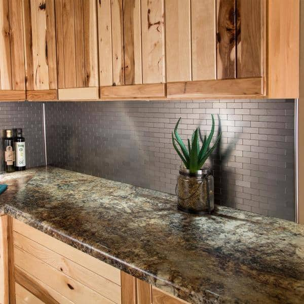 Aspect Subway Matted 12 In X 4 In Brushed Stainless Metal Decorative Tile Backsplash 1 Sq Ft A95 50 The Home Depot