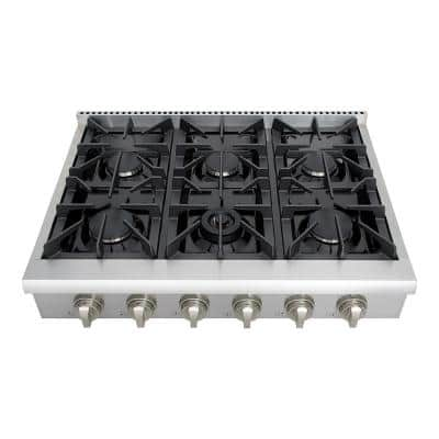 36 in. Gas Cooktop in Stainless Steel with 6 Burners