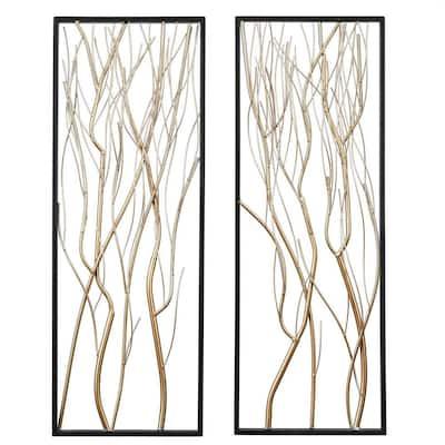 2-Piece Metal Gold Branch Wall Art