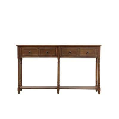 58 in. Walnut Standard Rectangle Wood Console Table with Drawers
