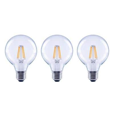 60-Watt Equivalent G25 Globe Dimmable ENERGY STAR Clear Glass Filament Vintage Style LED Light Bulb Daylight (3-Pack)