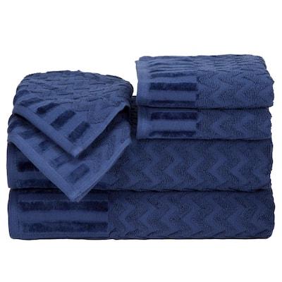 6-Piece Navy Chevron Patterned Deluxe Plush Cotton Bath Towel Set
