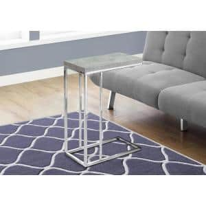 Grey Accent Table with Chrome Metal