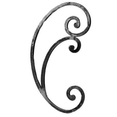 17-5/32 in. x 9-7/16 in. x 1/2 in. Wrought Iron Square Bar Forged Ends Raw C-Scroll