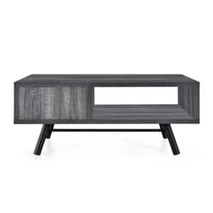 Burgoyne 39.3 in. x 16.6 in. Sonoma Grey Oak Rectangle Wood Coffee Table with Shelves