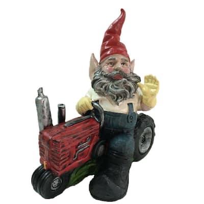 12 in. Gardener Gnome Riding Farm Tractor Collectible Statue