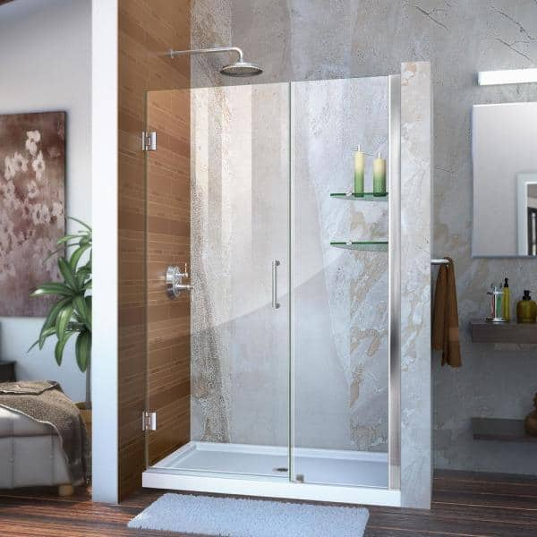 X 72 In Frameless Hinged Shower Door, Shower Stall Glass Doors Home Depot