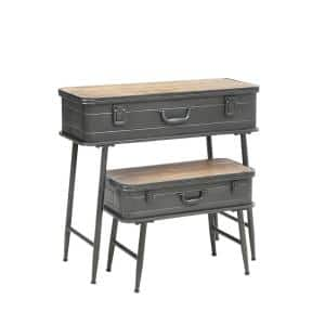 2-Piece 32 in. Brown/Gray Rectangle Wood Console Table Set with Barn Latch Closure