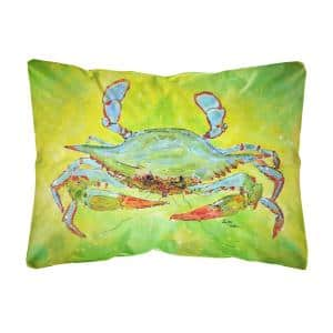12 in. x 16 in. Multi Color Lumbar Outdoor Throw Pillow Bright Green Blue Crab