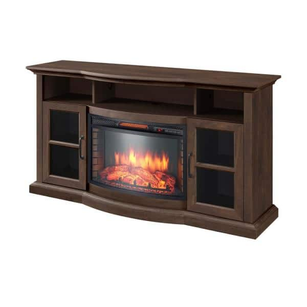 Home Decorators Collection Barden 59 In Freestanding Electric Fireplace Tv Stand In Antique Coffee 269 218 463 Y The Home Depot