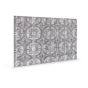 18.5'' x 24.3'' Empire Decorative 3D PVC Backsplash Panels in Crosshatch Silver 9-Pieces
