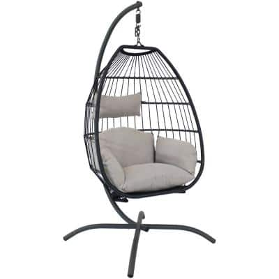 Oliver Collapsible Metal Outdoor Sphere Chair with Stand Rattan Frame with Nylon Rope - Gray Cushions