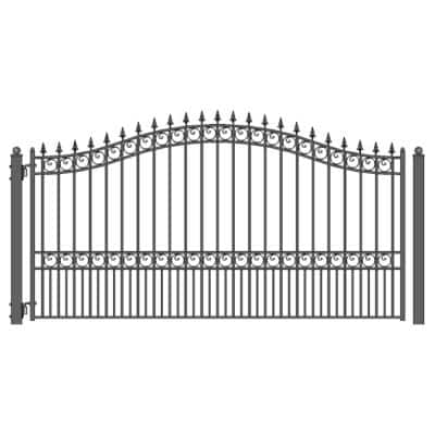 London Style 12 ft. x 6 ft. Black Steel Single Swing Driveway Fence Gate