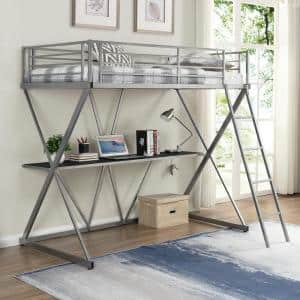 Silver Twin Size Steel Loft Bed with Desk and X-Shaped Frame