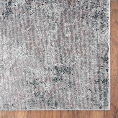 Revolution Gray/Cream 7 ft. 9 in. x 9 ft. 6 in. Modern Specks of Color Abstract Polypropylene Area Rug
