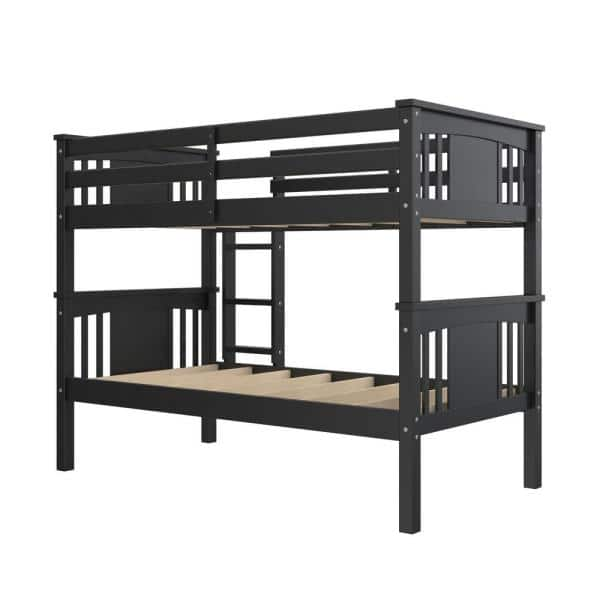 Dorel Living Dylan Twin Over Twin Wood Bunk Bed for Kids, Black | The Home Depot