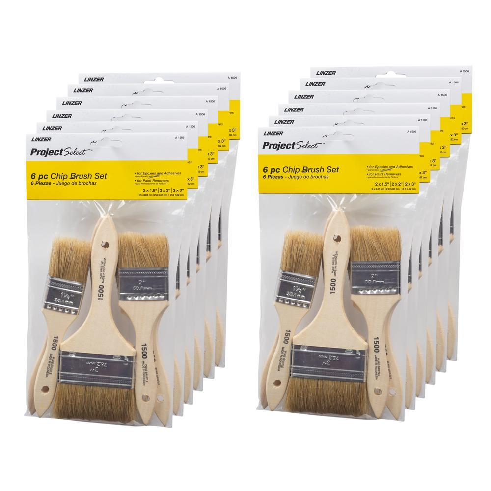 Flat Chip Brush Set (6-Piece) (12-Pack)