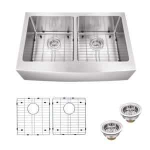 Farmhouse Apron Front Undermount 16-Gauge Stainless Steel 33 in. 50/50 Double Bowl Kitchen Sink with Grid Set and Drains