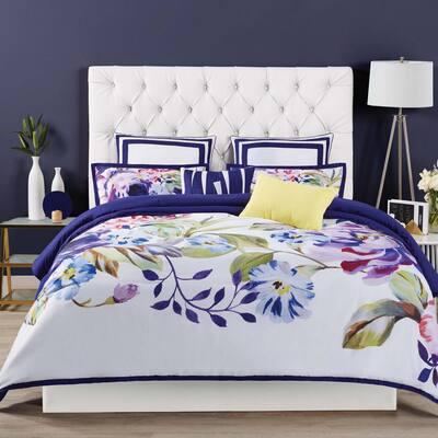Garden Bloom Blue Euro Pillow Cover