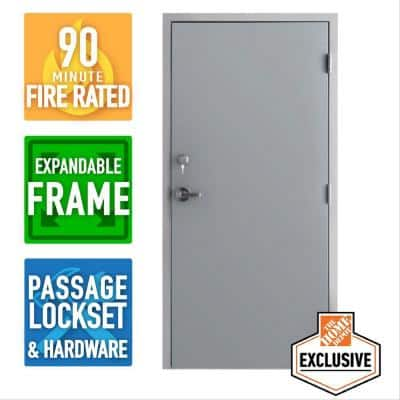 36 in. x 80 in. Left Hand Galvanneal Steel Mill Primed Commercial Door Kit with 90 Minute Fire Rating Adjustable Frame