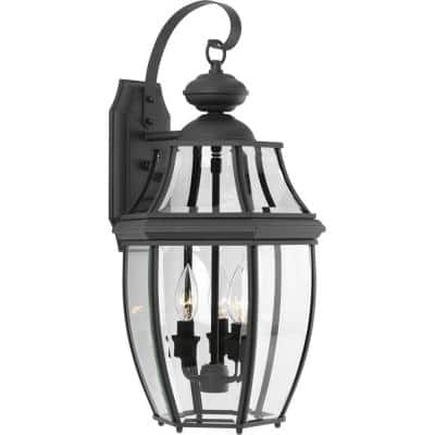New Haven Collection 3-Light Textured Black Clear Beveled Glass New Traditional Outdoor Large Wall Lantern Light