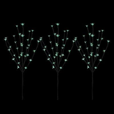 30 in. Green LED Lighted Cherry Blossom Branches (Set of 3)