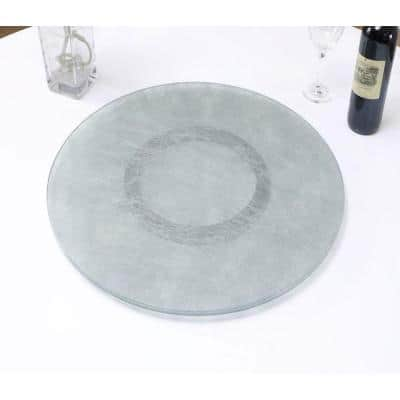 24 in. Round Silver Lami Cloth 3/8 in. T Lazy Susan