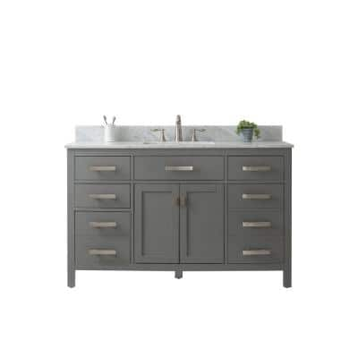 Valentino 54 in. W x 22 in. D Bath Vanity in White with Carrara Marble Vanity Top in Gray with White Basin