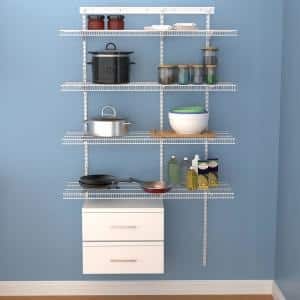 Shelftrack 16.75 in. D x 48 in. W x 84 in. H White Wire Adjustable Pantry Closet Kit with Laminate Drawers