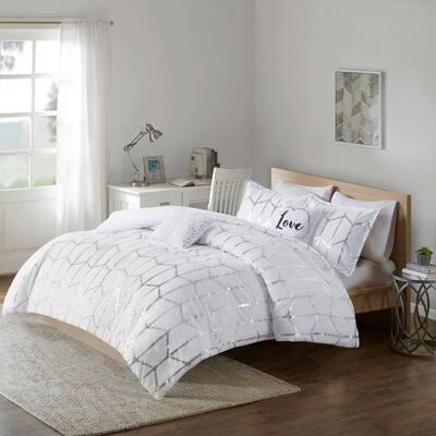 Khloe 5-Piece White/Silver Microfiber Geometric King/Cal King Metallic Printed Comforter Set