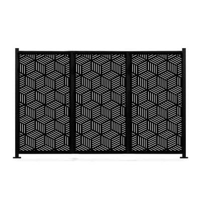 New Style MetalArt Laser Cut Metal Black Privacy Fence Screen, HoneyComb, 2-Pole with 3-Panel 48 in. x 72 in./Set