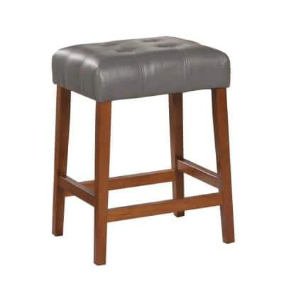 Square Gray Faux Leather 24 in. Counter Height Barstool