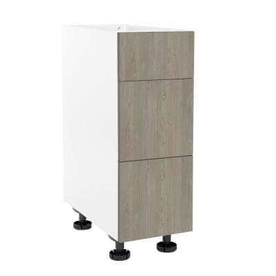 Ready to Assemble Threespine 12 in. x 34.5 in. x 24 in. Stock Drawer Base Cabinet in Grey Nordic
