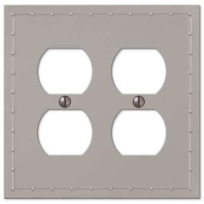 Rosa 2 Gang Duplex Metal Wall Plate - Satin Nickel