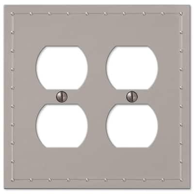 Rosa 2 Gang Duplex Metal Wall Plate - Satin Nickel