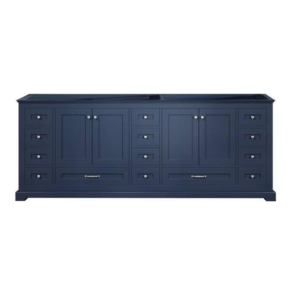 Lexora Dukes 84 Inch Bathroom Vanity Cabinet Only In Navy Blue Ld342284de00000 The Home Depot