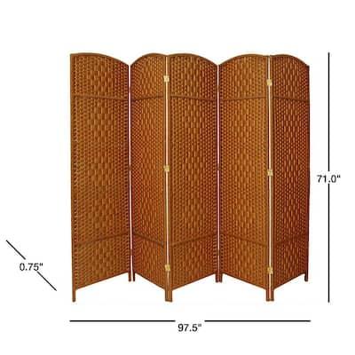 6 ft. Dark Beige 5-Panel Room Divider