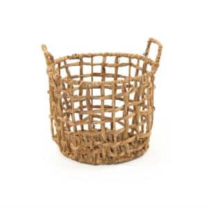 Round Handmade Sparsed Wicker Water Hyacinth Small Basket with Handles