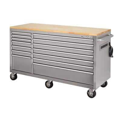 62 in. 14-Drawer 24 in. Deep Stainless Steel Mobile Workbench with Solid Wood Top