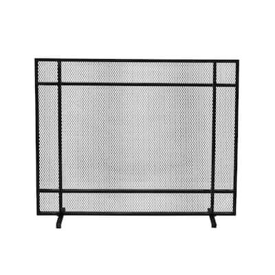 Cabarrus Modern Black Brushed Silver Single Panel Iron Fire Screen
