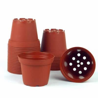 3 in. Dia Plastic Terra Cotta Pots (30-Pack)
