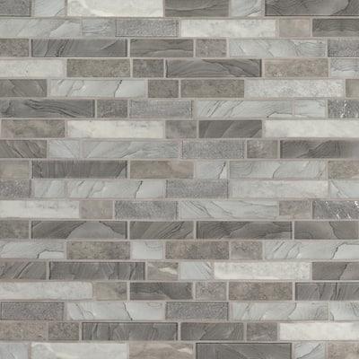 Tarvos Interlocking 11.81 in. x 11.81 in. x 6 mm Textured Glass Mesh-Mounted Mosaic Tile (0.97 sq. ft.)