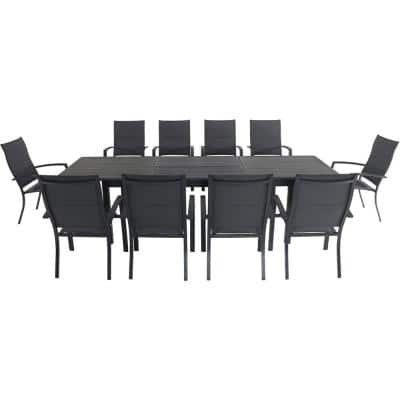 Bryn 11-Piece Aluminum Outdoor Dining Set with 10-Padded-Sling Chairs and an Expandable 40 in. x 118 in. in. Table