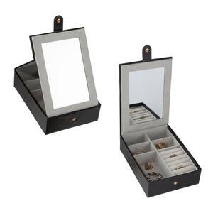 Multi Compartment Jewelry Organizer Box with Vanity Mirror in Black