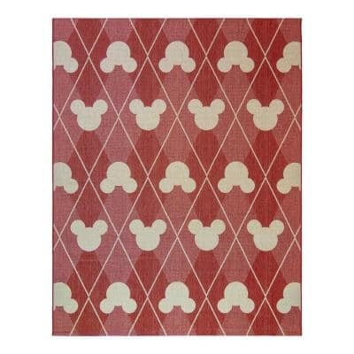 Mickey Mouse Red/Grain 9 ft. x 13 ft. Argyle Indoor/Outdoor Area Rug